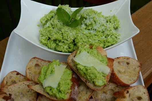 Fava Bean and Mint Crostini