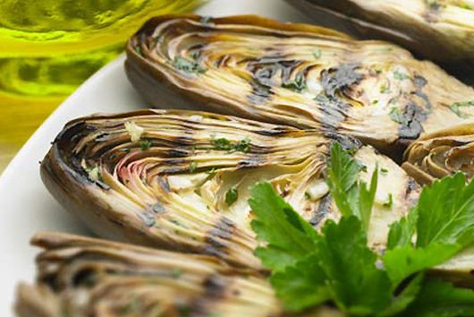 Grilled Baby Artichokes with Great Northern Beans