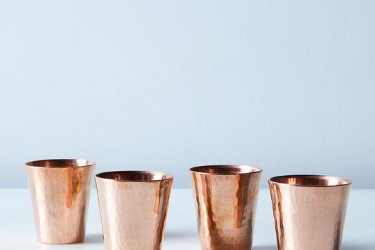 Hammered Copper Shot Cups (Set of 4)