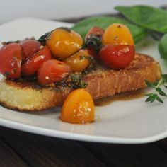 Herby Marinated Tomatoes with Parmesan Crusted Crostini