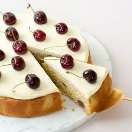 CHERRY AND CARDAMOM CAKE WITH HONEY CREAM CHEESE ICING