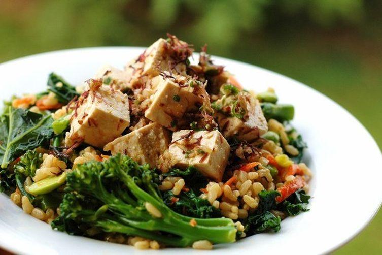 Kale, Brown Rice and Tofu Poke Salad
