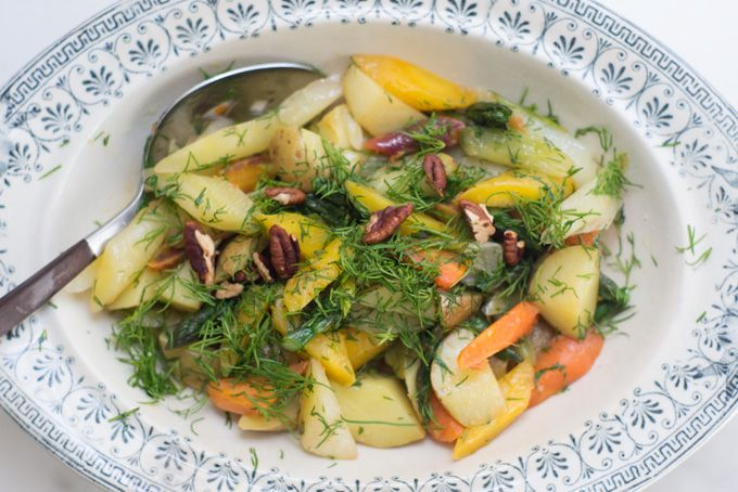 Olive Oil Braised Spring Vegetables