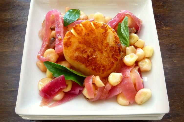 Sea Scallops with Corn, Thai Basil and Lime Appetizer