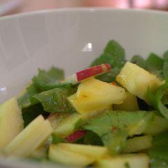 Radish & apple salad with an orange butternut oil dressing.