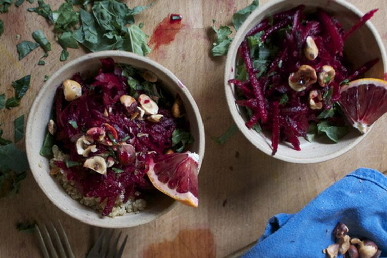 Raw Beet and Orange Salad with Roasted Hazelnuts