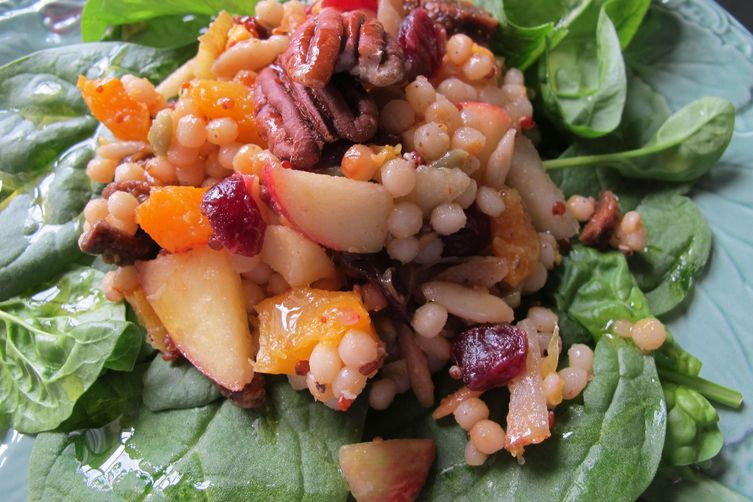 Israeli Couscous-Butternut Squash Salad with Fruit, Cheese + Orange Vinaigrette