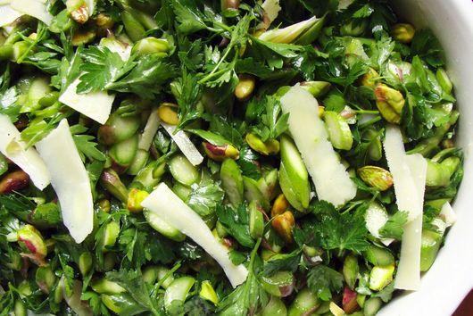 Raw Asparagus, Herb, and Pistachio Salad