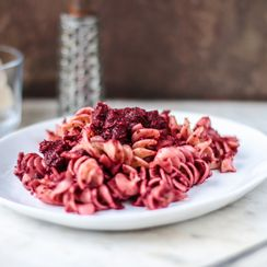 Pink Pasta - with a creamy vegan vegetable sauce
