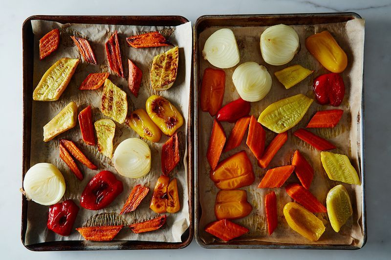 Left: Vegetables roasted after a night cut and uncovered in the fridge; Right: Vegetables cut then roasted.