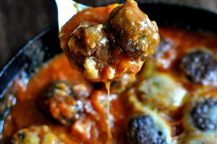 Smoky Eggplant Parmesan Meatballs in Homemade Pasta sauce