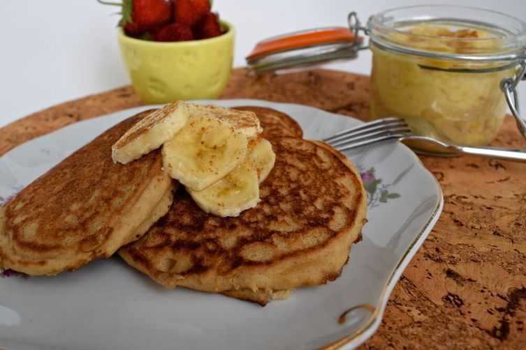 Caramelized Banana Pancakes with Maple Banana Mousse