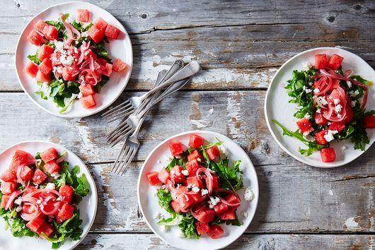 Watermelon, Arugula, and Pickled Onion Summer Salad