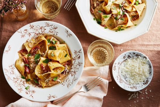 Pappardelle with Chicken and Lemon-Anchovy Cream Sauce