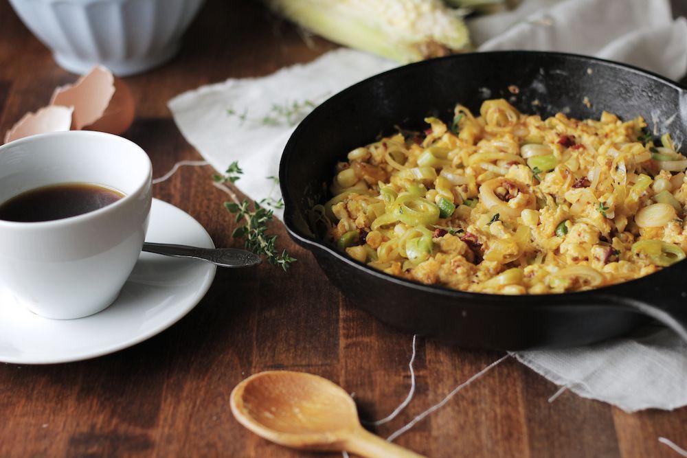 Spicy Leek & Corn Scramble