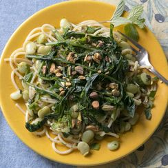 Lemony Pasta with Fava, Dandelion and Mint