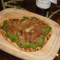 Pizza with Pea-Spinach Pesto and Caramelized Onions and Fennel