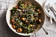 All-in-One Sheet-Pan Brown Rice with Sweet Potato and Broccoli Rabe