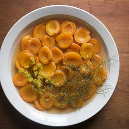 The Canal House's Wine-Poached Apricots with Ricotta