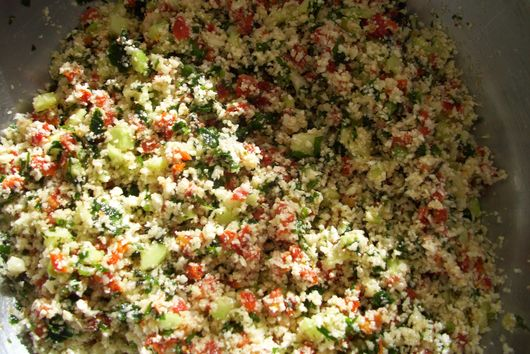 "Tabbouleh with cauliflower ""rice"""