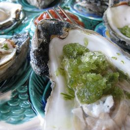 Fresh Oysters with Green Onion Granita