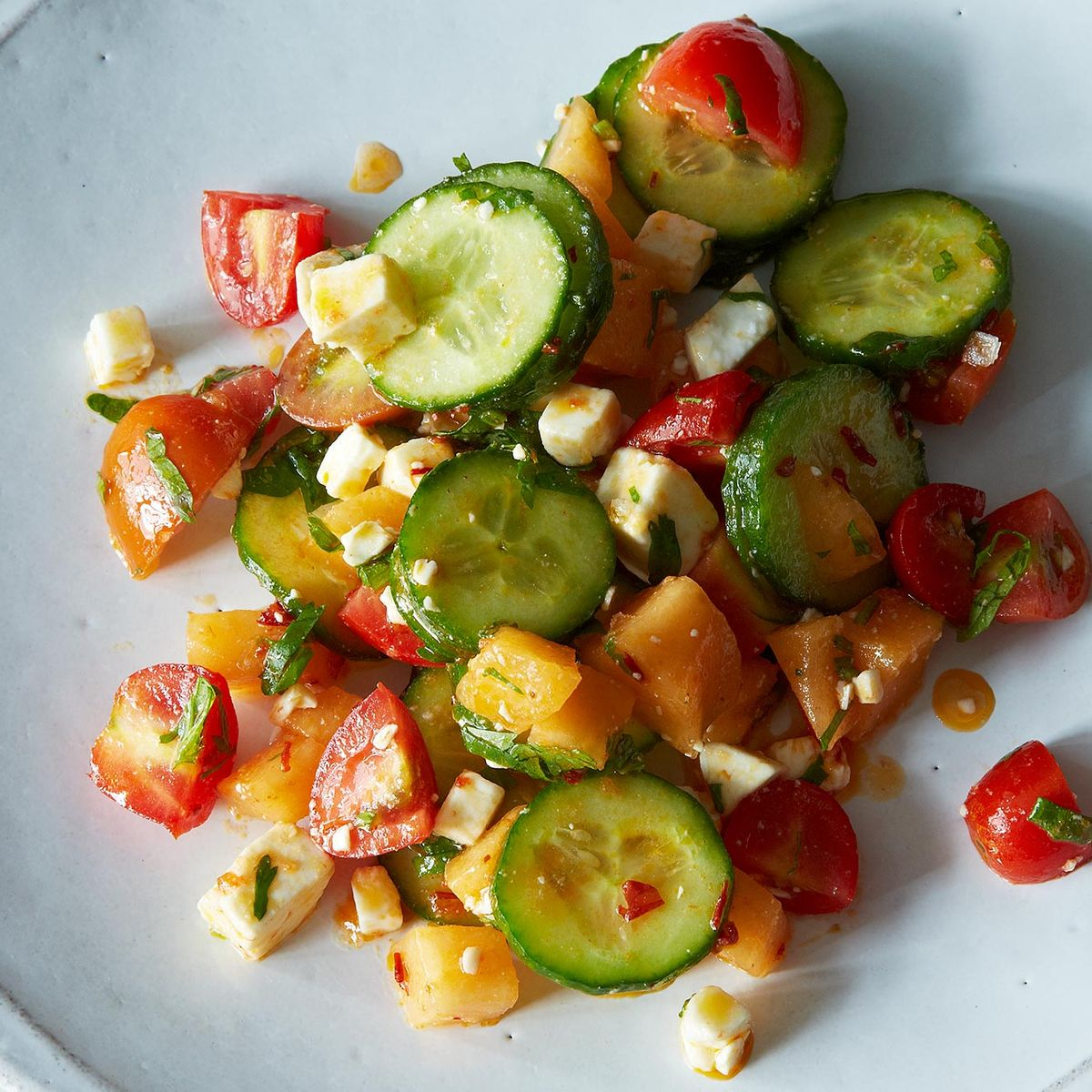 Summer Melon Salad With Harissa Feta And Mint Recipe On Food52 A squeeze of citrusy lime and. summer melon salad with harissa feta and mint