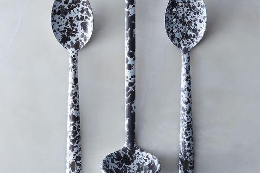 Grey Splatter Enamel Serving Utensils (Set of 3)