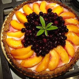 Poached Peach and Blueberry Tart