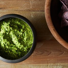 Smashed Pea Guacamole with Cilantro, Ginger and Lime