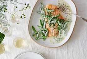 36dd7fd7 cb8c 4adc 933a 271a51d7619d  2016 0617 salmon fillet with snap peas and lemony creme fraiche dressing bobbi lin 25981