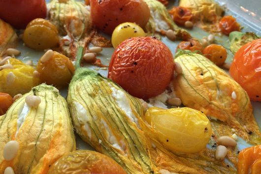 Goat Cheese Stuffed Squash Blossoms and Roasted Tomatoes