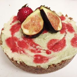 Raw, Vegan Matcha and White Chocolate Cheesecake with a Strawberry Coulis