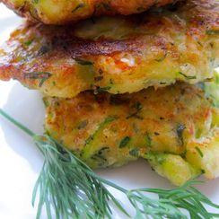 Zucchini Fritters with Lemon and Dill Dipping Sauce