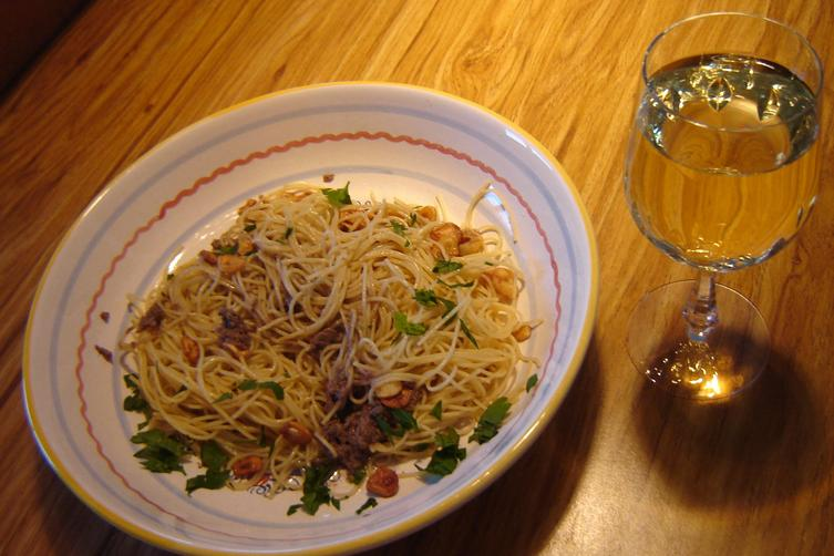 Fried Anchovy with Angel Hair