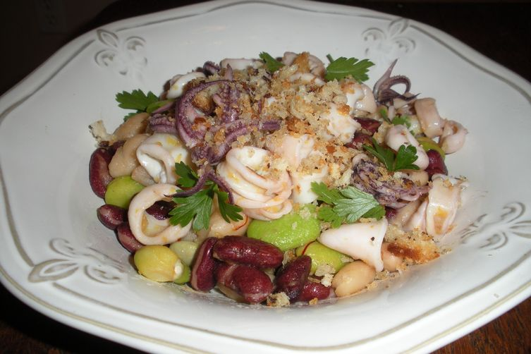 Warm Squid Salad with Saffron-Sherry Vinaigrette and Lemon Breadcrumbs