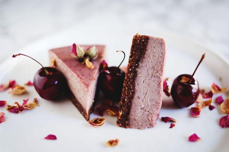 Cherry + rose raw cheesecake