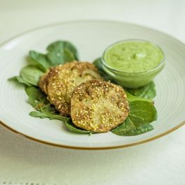 Fried Green Tomatoes with Avocado-Herb Dressing