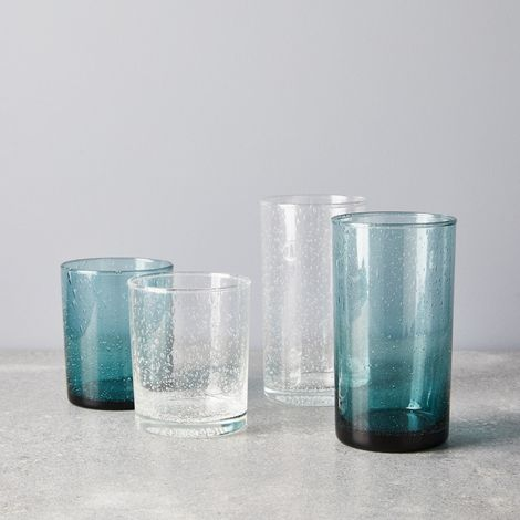 Hand-Blown Seeded Glass Tumblers (Set of 6)