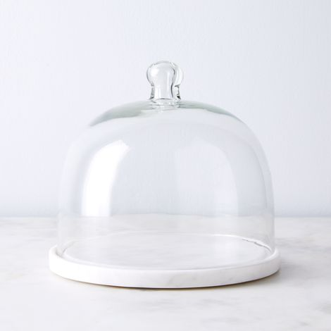 Round Marble Platter & Glass Cloche
