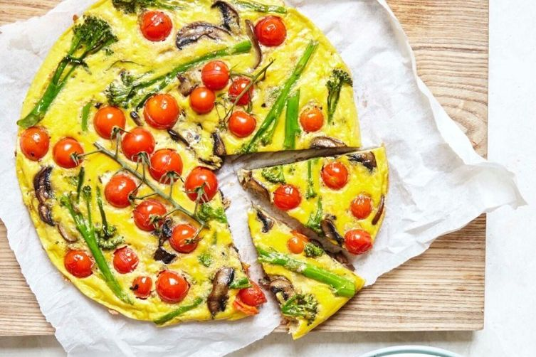Tenderstem Broccoli, Cherry Tomato and Mushroom Frittata
