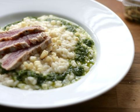 Charred Corn Risotto with Tuna and Jalapwno-Basil Oil