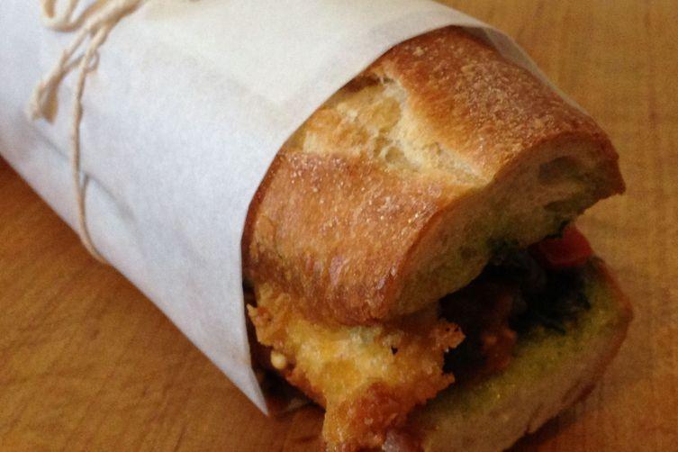 Parmesan-Crusted Chicken, Caponata, and Pesto Sandwich
