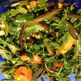 Wilted Arugula and Smoked Scallop Salad for Dinner