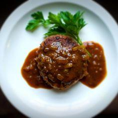Japanese Chopped Steak with Caramelized Onion Curry Gravy (Hanb?gu)