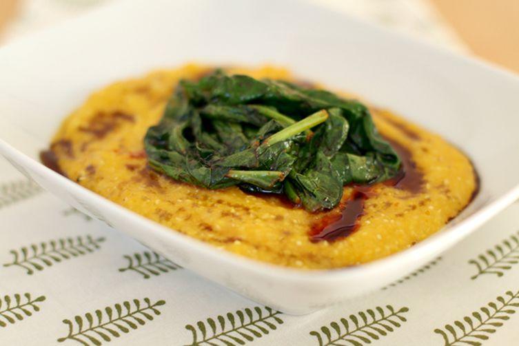Creamy butternut squash polenta with spicy wilted spinach