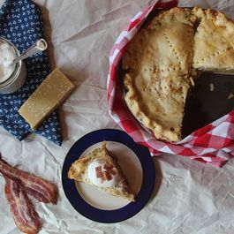 Cheddar Crusted Maple Apple Pie with Maple Whipped Cream (Bacon Optional)