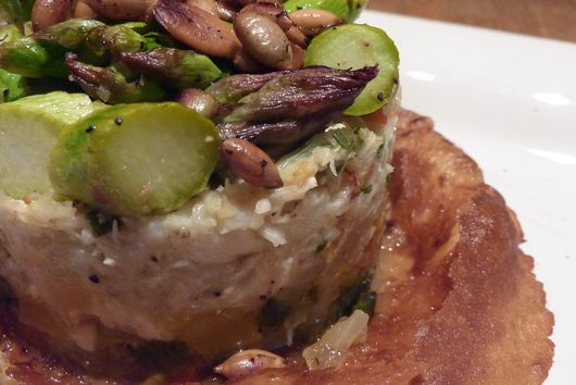 Asparagus, Crab and Pepper Timbale with Toasted Spiced Pepitas