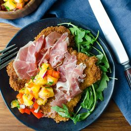 Crispy Pork Cutlets and Peach Salsa