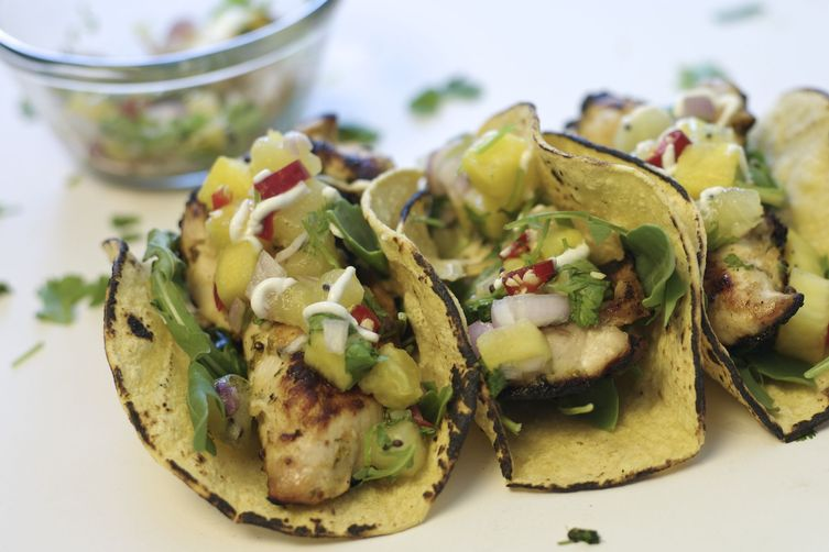 Grilled Chicken Tacos with Kiwi Fruit Salsa