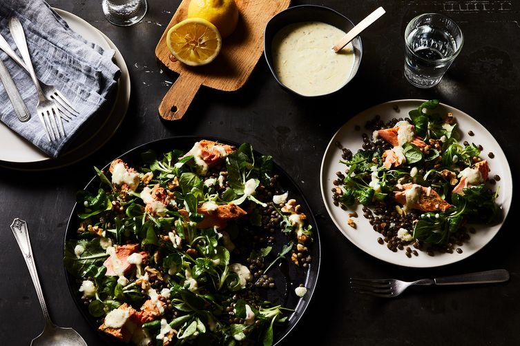 Warm Salmon and Lentil Salad with Herbes de Provence